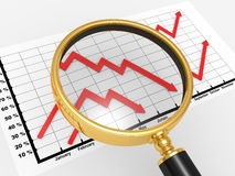 3d the graph and magnifying Royalty Free Stock Photo