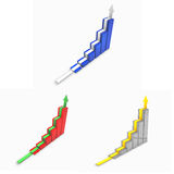 3d graph set with arrow. Isolated on white Royalty Free Stock Image