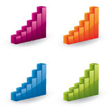 3d  graph set - glossy icons. Four glossy graph in different color variations Royalty Free Stock Photos