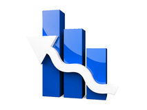 3D Graph with white arrow Royalty Free Stock Photos