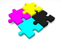 3D graphics, metaphores, printing, CMYK, jigsaw puzzle