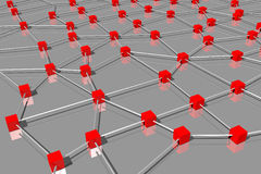 3D graphics, metaphors, network, red cubes... Royalty Free Stock Images