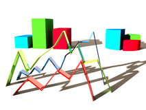 3D Graphs. Line, Bar, and Pie Chart Royalty Free Stock Photos