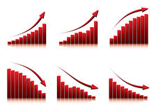 3d graphs showing rise and fall. In profits or earnings /  illustration Royalty Free Stock Photography