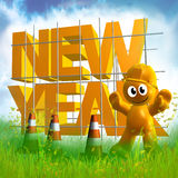 3d grappig pictogramsymbool van het nieuwe jaar van 2010 Stock Afbeeldingen