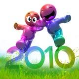 3d grappig pictogramsymbool van het nieuwe jaar van 2010 in weide Stock Foto's
