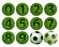 3D grass number 0-9. Grass number 0 - 9 ball on white background. Isolated 3d model Royalty Free Stock Image