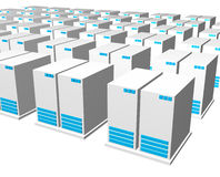 3d gray blue server. Structure perspective view background Stock Photography