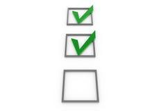 3d gray check box green Stock Photos