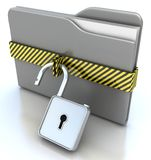 3D gray folder and lock. Data security concept. 3d illustration of gray folder and lock. Open the folder lock. Data security concept Stock Photography