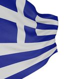 3D Greek flag. With fabric surface texture. White background vector illustration