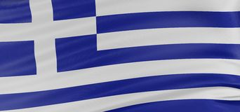 3D Greek flag Stock Photos