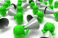 3D green android caricature Stock Photography