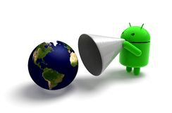 3D green android caricature Stock Photo