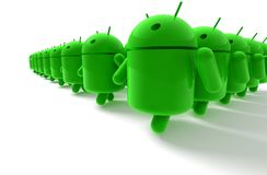 3D green android caricature. Armada on white background Stock Photos