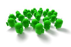 3D green androids caricature Royalty Free Stock Photo