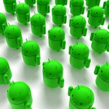 3D green androids caricature Royalty Free Stock Image