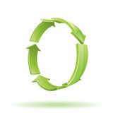3d green arrows. Recycle sign. Stock Photo