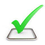 3D green checkmark in chrome checkbox. Royalty Free Stock Photos