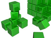 3d green cubes. 3d reflective green cubes isolated on white Royalty Free Stock Photography