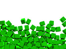 3d green cubes on white background Stock Image