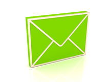 3d green envelope over white background. Render Royalty Free Stock Image