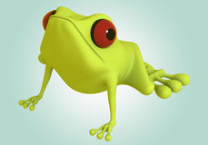 3D green frog Stock Photos