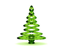 3D green glass Christmas tree. Rendered green glass Christmas tree. Isolated on a white background Stock Photography