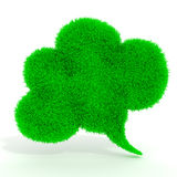 3d green grass bubble talk. On white background Royalty Free Stock Images