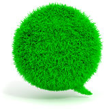 3d green grass bubble talk. On white background Stock Photo
