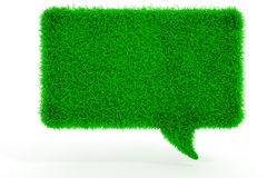 3d green grass bubble talk. On white background Stock Image