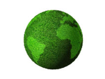 3D green grass globe. Grass earth globe isolated on white - three dimensional illustration Royalty Free Stock Image