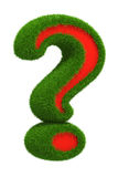 3d Green grass Question mark - sign icon isolated Royalty Free Stock Photos