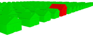 3D Green houses with one red house. On a white background stock illustration