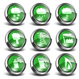 3d Green Icons Set 03. 3D green enviromental and weather related shiny round icons Royalty Free Stock Image