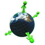 3d Green Man Networking Earth Globe Concept Royalty Free Stock Images