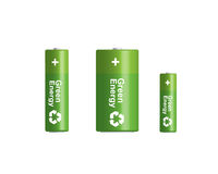 3D green recycling batteries set. Vector 3D green batteries set with recycling symbol. Model 3D - you can rotate and change position in 3D Royalty Free Stock Photography