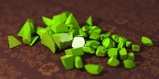 3D green rocks. One big rock fall apart into many pieces Stock Photos
