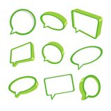 3d green speech bubbles. Collection of nine green speech bubbles in 3d. Vector illustration Stock Photography