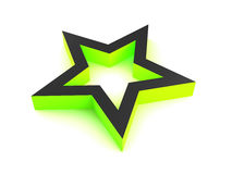 3D Green Star. 3D rendered green star isolated on white background Royalty Free Stock Photo