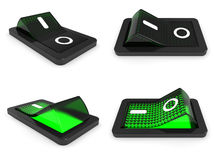 3D green switch on off Royalty Free Stock Photography