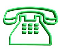 3D Green Telephone Sign Royalty Free Stock Images