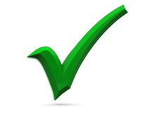 3d green tick. 3d illustration of green tick over white background Royalty Free Stock Image