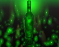 3D green wine bottle Royalty Free Stock Photography
