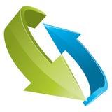 3D groene en blauwe pijlen Stock Afbeelding