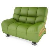 3D groene stoel op een witte achtergrond Stock Afbeelding
