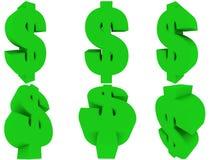 3D Groep van het Symbool van de Dollar van de V.S. Stock Afbeeldingen