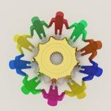 3D groepswerk met toestel aan succes Stock Fotografie