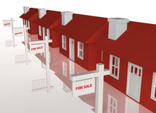 3D group of houses for sale. A 3D rendered image of red houses isolated on a white reflective background with for sale signs out front Royalty Free Stock Images