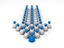 3D Group of people forming an arrow. 3D rendered image of a group of people being led by a leader Royalty Free Stock Photography